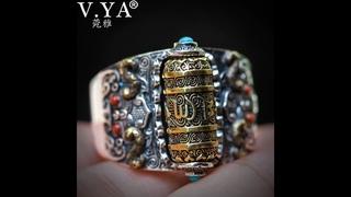 Мужское кольцо буддийского будды , серебряное с мантрой удачи, бирюзовое для молитвы, колесо