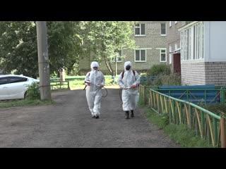 В Дюртюлях продолжается обработка подъездов от коронавируса #ДюртюлиТВ