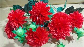 Cara Membuat Bunga Dahlia Merah dari Kantong Plastik Kresek
