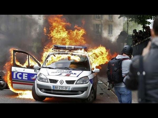 Париж на полицейских напали на манифестации «полицейские против насилия»