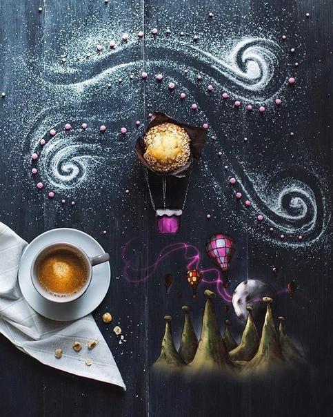 Итальянская художница Cinzia Bolognesi работает дома и рисует иллюстрации для детских книг. Как-то раз серым зимним утром Cinzia пила кофе и ее взгляд случайно упал на черную бумагу, которую она