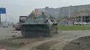 В Волгограде бронетехника снесла бордюр