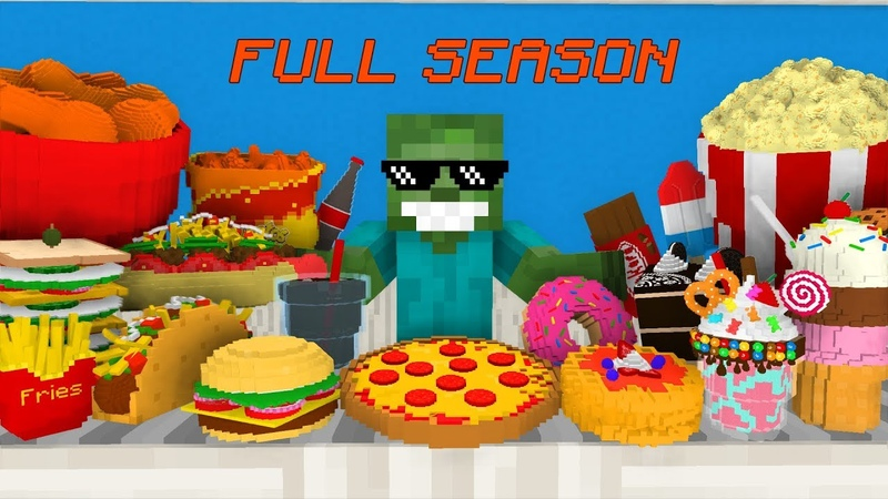 Monster School FULL SEASON Work at Cinema, Pizza, Taco, Fried Chicken More - Minecraft Animations