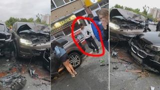 Пьяный на Volkswagen Touareg протаранил ДВА BMW и стену дома. Момент ДТП и последствия.