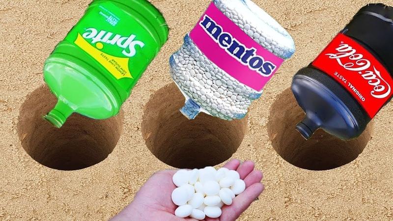 Experiment Fanta Sprite Coca Cola vs Mentos in different Holes Underground