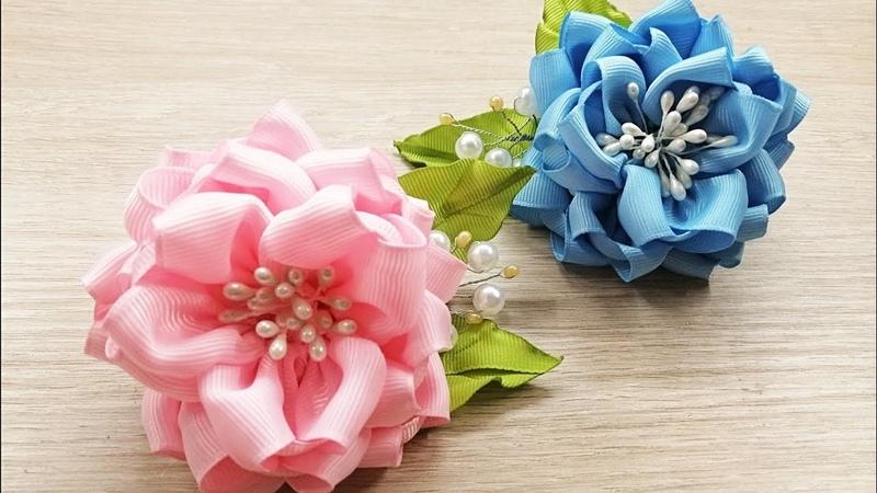 Beautiful Ribbon Flowers Цветы из репсовой ленты 4см Зажимы для волос Канзаши МК DIY