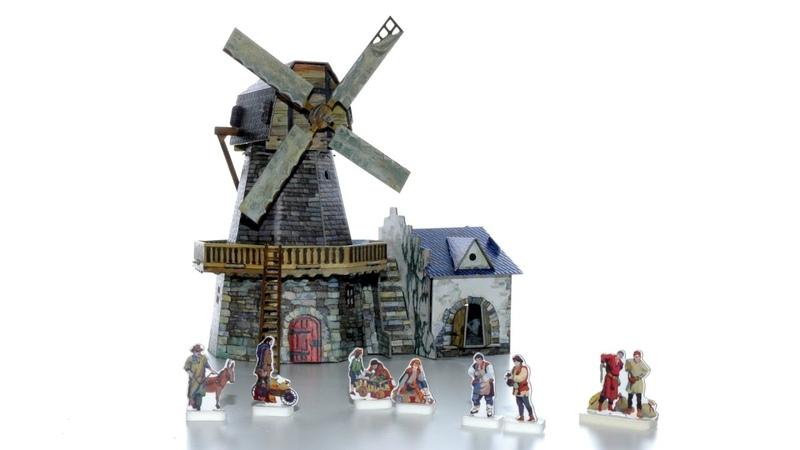 UMBUM Wiatrak średniowieczne miasto zabawki dla dzieci z kartonu typu puzzle 3d