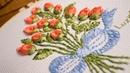 Bordado a mano: Ramo de botones de rosas/Hand embroidered bouquet of buttons roses