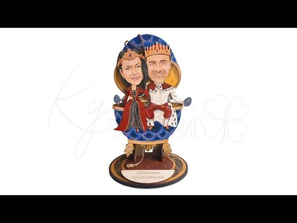 Подарок паре в образе короля и королевы | Вручение Кукла Удачи - подарок ручной работы из дерева
