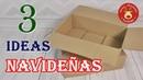 3 Ideas navideñas reciclando cartón para decorar en Navidad. Manualidades con cartón