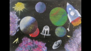 """Выставка детских художественных работ """"Тайны звездного неба"""""""
