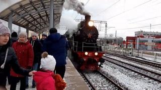 прибытие и отправка ретро поезда Чудово-Великий Новгород