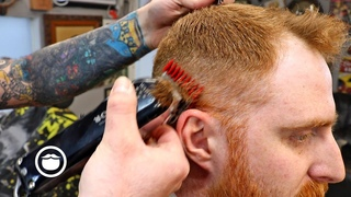 Red Hair Mid Skin Fade with Squared Beard Trim | The Dapper Den Barbershop