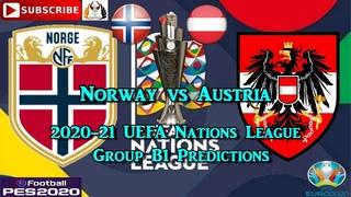 Norway vs Austria | 2020-21 UEFA Nations League | Group B1 Predictions eFootball PES2020