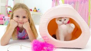 Лайк Настя и папа купили котёнка