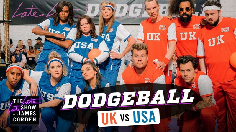 Team USA v. Team UK - Dodgeball w/ Michelle Obama, Harry Styles More - LateLateLondon