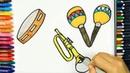 Как нарисовать музыкальные инструменты🎺| Раскраски детей | Рисование и окраска | Рисование для детей