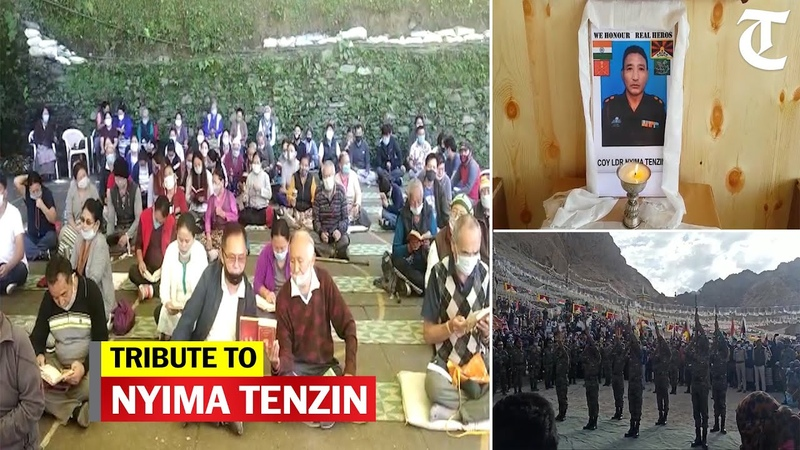 Tibetans pay homage to SFF soldier Nyima Tenzin who died at the LAC