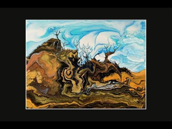 Fluid Acrylic Poured Spooky Desert, Landscape Created By Tilting 5463-7.201.19