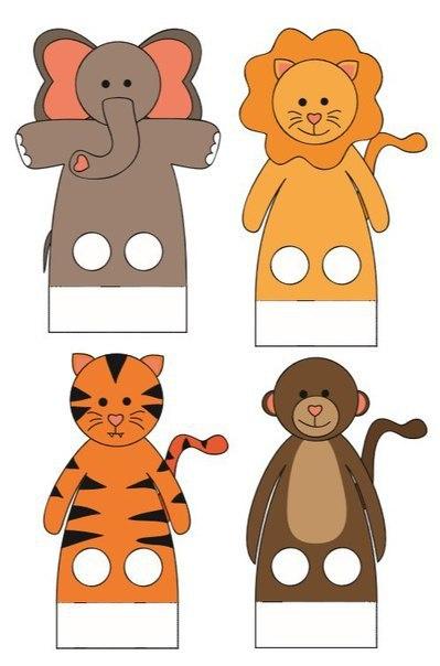 Пальчиковые зверята  Сохраняем шаблоны, распечатываем, вырезаем и играем!