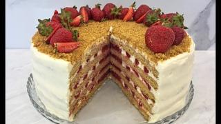 НОВИНКА!!! КЛУБНИЧНЫЙ МЕДОВИК!!! / Торт с Клубникой Без Раскатки Коржей / Strawberry Honey Cake