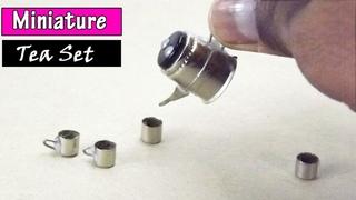 DIY Miniature Aluminium Teapot and Cup for Dollhouse | Tea Set Toys for Kids