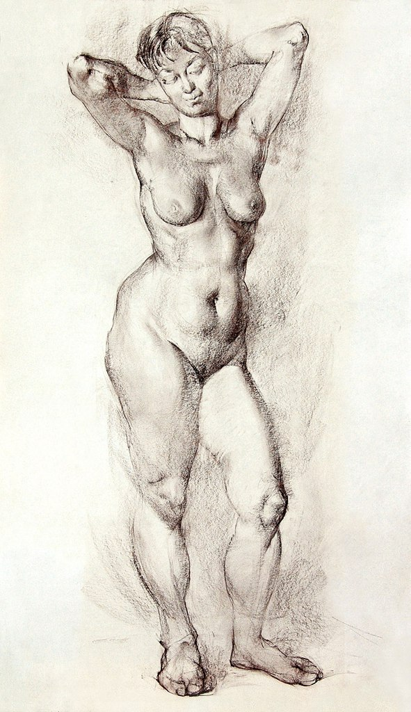 Vanity female nude figure portrait study charcoal drawing naked woman realism nr