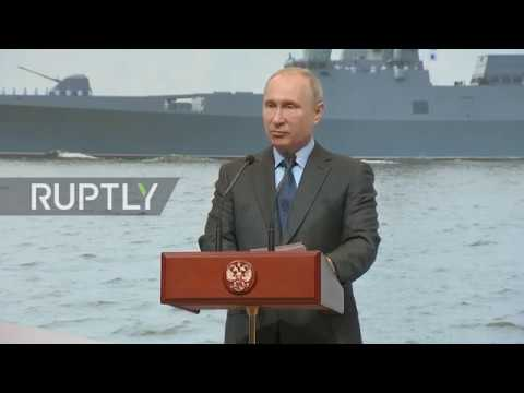 Russia Putin attends keel laying ceremony for two frigates in Saint Petersburg