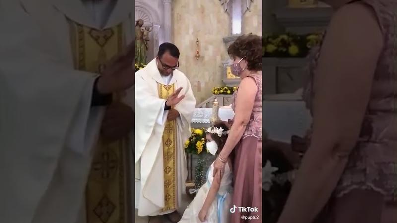 Little girl high five priest Cute misunderstanding