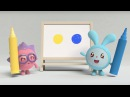 Малышарики - Фломастеры. Синий и жёлтый (3 серия)   Мультфильмы для самых маленьких 1,2,3,4 года