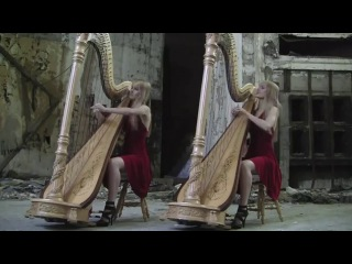 Американские сестры-близнецы игрют на арфах!!!  BAD ROMANCE - Lady Gaga (Harp Twins) Camille and Kennerly, Harp Duet