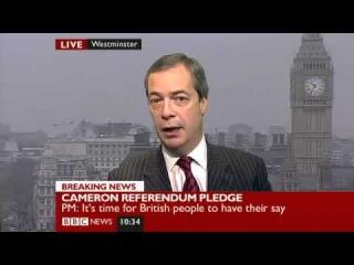 BBC News- Nigel Farage on Cameron's Europe speech (23Jan13)