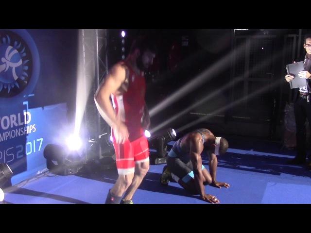 Behind the scenes footage of Jordan Burroughs and Khetik Tsabolov preparing for World final