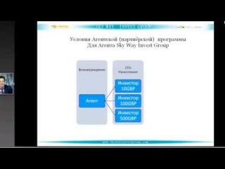 SkyWay  Условия агентской партнерской многоуровневой программы SkyWay Invest Group