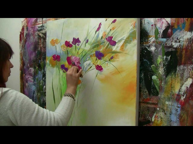 Abstract floral painting Demo time lapse Abstraktes Blumenbild in Acryl Zacher Finet