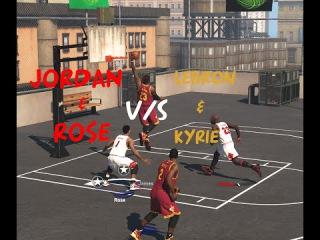 NBA 2K15 : Michael Jordan & Derrick Rose Vs Lebron James & Kyrie Irving l 2 on 2 Blacktop [HD]