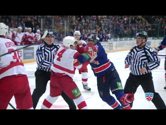 Бой КХЛ Макаров дерется, Лера недовольна KHL Fight Makarov fights Vityaz