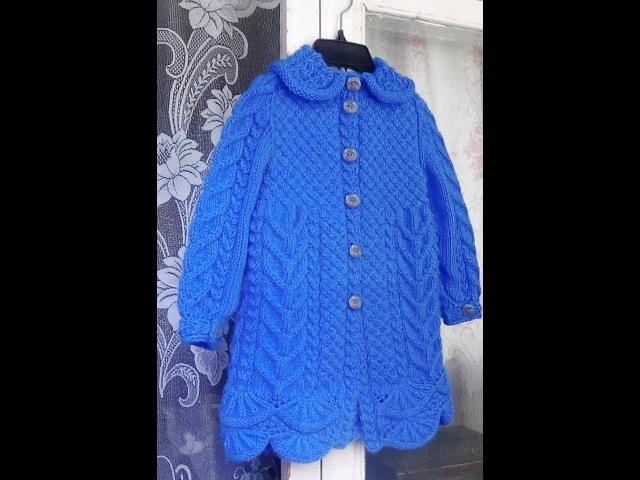 Пальто для девочки спицами Часть 4 вяжем воротничок knitting children's coats