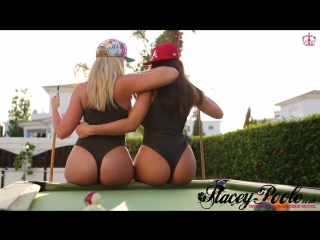 Stacey poole - playing strip pool with melissa debling (big tits, boobs, brittish, thong leotard)