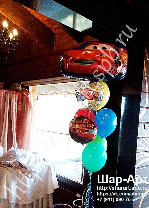 фонтан из шаров на день рождение в стиле тачки