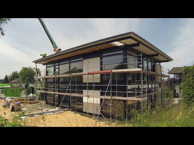 Aufbau eines HUF Haus modum im Westerwald - Zeitraffer, Drohne