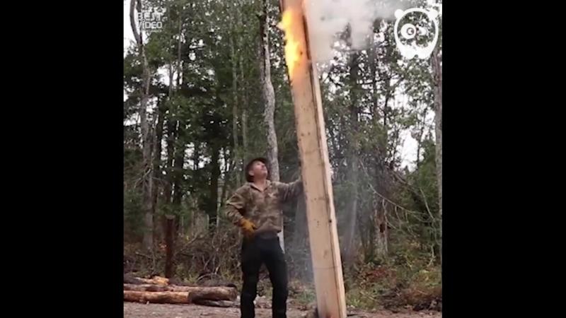 В одиночку построил себе домик в лесу