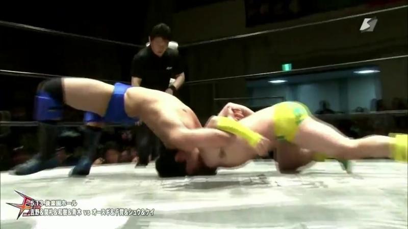 Kazuki Hashimoto Kota Sekifuda Tatsuhiko Yoshino Yuya Aoki vs Brahman Brothers Hercules Senga Tsutomu Oosugi BJW