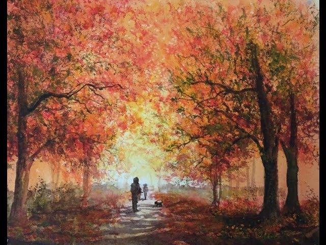 Осень2 Аллея в Парке Губкой Акварель Autumn Alley in the Watercolour