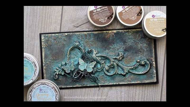 Patina card made with Artisan Powder and Art Alchemy Waxes