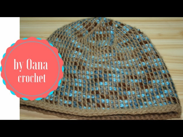Tunisian crochet hat in the round-by Oana