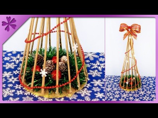DIY How to make paper wicker Christmas tree (ENG Subtitles) - Speed up #419