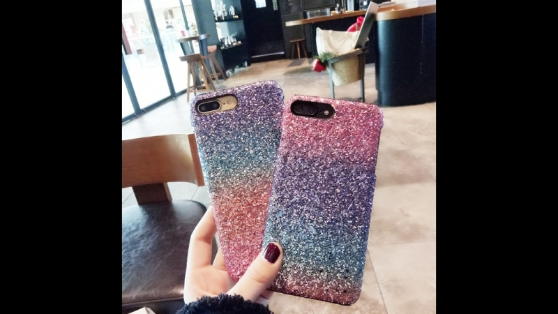 Bling Random Gradient Color Sequins Glitter Hard Telefon Kilifi Case