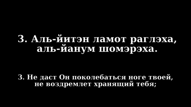 Tehilim121 Пс120 на иврите с транслитерацией на рус.яз. Помощь моя от יהוה сотворившего Небо и Землю