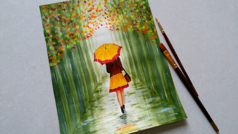Easy Rainy season scenery drawing for beginners|| Green forest landscape scenery || Girl with umbrel